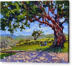 Picnic In The Vineyard Acrylic Print by Lynee Sapere