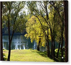 Acrylic Print featuring the photograph Picnic Spot On Spokane River by Ben Upham III