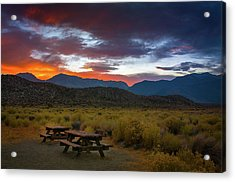 Picnic Tables At Sunset Acrylic Print