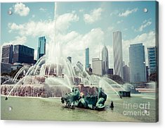 Picture Of Buckingham Fountain With Chicago Skyline Acrylic Print by Paul Velgos