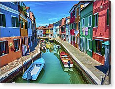 Picturesque Buildings And Boats In Burano Acrylic Print