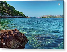 Picturesque Croatia Offers Tourists Pristine Beaches Of The Adriatic, Surrounded By Pine Trees And R Acrylic Print