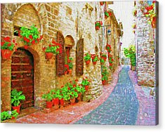 Picturesque Lane With Flowers In An Italian Hill Town Acrylic Print by Andrew Sokol