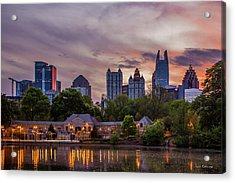 Acrylic Print featuring the photograph Piedmont Park Midtown Atlanta Sunset Art by Reid Callaway