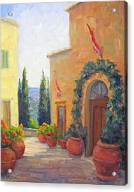 Pienza Passage Acrylic Print by Bunny Oliver