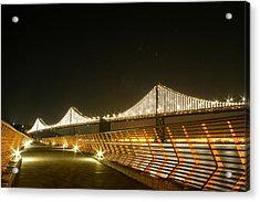 Pier 14 And Bay Bridge Lights Acrylic Print