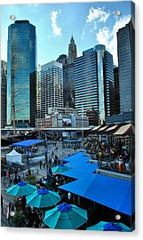 Pier 17 Blue Tops Acrylic Print by Laura DAddona