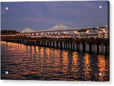 Pier 7 And Bay Bridge Lights At Sunset Acrylic Print
