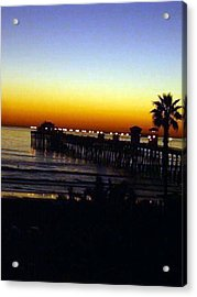 Acrylic Print featuring the photograph Pier At Sunset by Amanda Eberly-Kudamik
