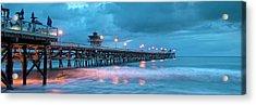 Pier In Blue Panorama Acrylic Print by Gary Zuercher