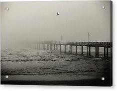 Pier In Fog Acrylic Print