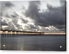 Pier In Misty Waters Acrylic Print