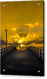 Pier Into The Rays Acrylic Print by Marvin Spates