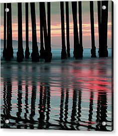 Acrylic Print featuring the photograph Pier Reflections - Ocean Sunset - California  by Gregory Ballos