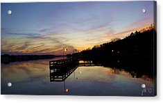 Pier Silhouetted In The Sunset On The Coosa River Acrylic Print by Lori Kingston