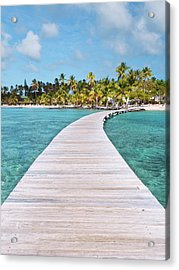 Pier To Tropical Island Acrylic Print by Matteo Colombo