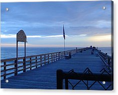 Pier View At Sunrise Acrylic Print by Cheryl Waugh Whitney