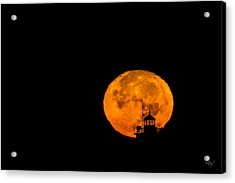 Acrylic Print featuring the photograph Pierhead Supermoon Silhouette by Everet Regal