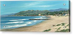 Pierpont Beach And The Bench Acrylic Print by Tina Obrien