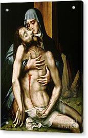 Pieta Acrylic Print by Luis de Morales