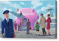 Acrylic Print featuring the digital art Pig Airline Airport by Martin Davey