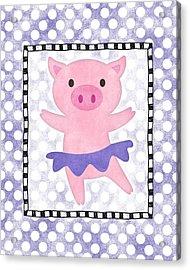 Pig Dancing - Purple Dotty Acrylic Print