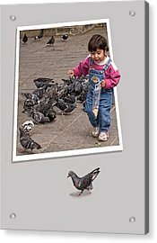Pigeon Control Problem - Child Feeding Pigeons Acrylic Print by Mitch Spence