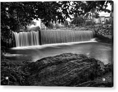 Pigeon River At Old Mill In Black And White Acrylic Print by Greg Mimbs