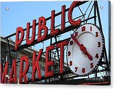 Pike Street Market Clock Acrylic Print