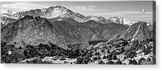Acrylic Print featuring the photograph Pikes Peak Panorama - Garden Of The Gods - Colorado Springs - Black And White by Gregory Ballos