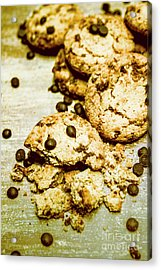 Pile Of Crumbled Chocolate Chip Cookies On Table Acrylic Print
