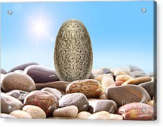 Pile Of River Rocks On White Acrylic Print by Sandra Cunningham