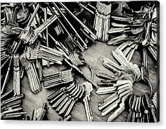 Piles Of Blank Keys In Monochrome Acrylic Print