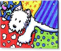 Pillow Pile Westie Acrylic Print by Kim Niles