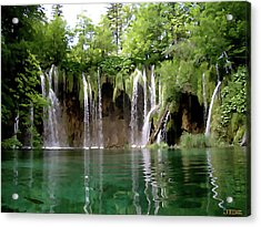 Piltvice Lake Falls Acrylic Print