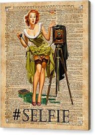 Pin Up Girl Making #selfie Vintage Dictionary Art Acrylic Print