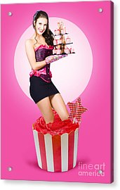 Pin-up Girl Popping Out Of Large Birthday Cake Acrylic Print by Jorgo Photography - Wall Art Gallery