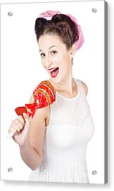 Pin-up Girl Singing Into Large Lollypop Microphone Acrylic Print by Jorgo Photography - Wall Art Gallery