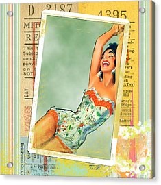 Pin Up Girl Square Acrylic Print by Edward Fielding