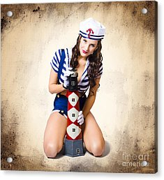 Pin Up Girl With Curly Hair And Stylish Make-up Acrylic Print by Jorgo Photography - Wall Art Gallery