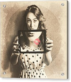 Pin Up Girl With Technology Love Acrylic Print by Jorgo Photography - Wall Art Gallery