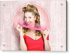 Pin Up Hairdresser Woman With Hair Salon Brush Acrylic Print