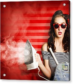 Pin Up Housekeeping Maid Acrylic Print by Jorgo Photography - Wall Art Gallery