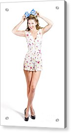 Pin-up Lady Playing With Hairstyle Accessory Acrylic Print