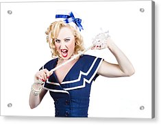Pin Up Navy Girl Breaking Naval Rope With Strength Acrylic Print