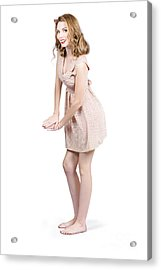 Pin Up Portrait Of A Beautiful Model Girl Acrylic Print