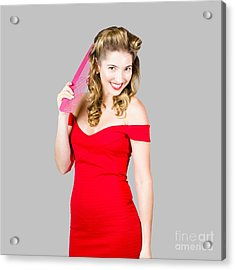 Pin-up Styled Fashion Model With Classic Hairstyle Acrylic Print
