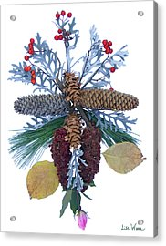 Acrylic Print featuring the digital art Pine Cone Bouquet by Lise Winne