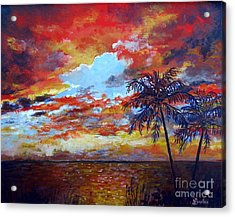 Acrylic Print featuring the painting Pine Island Sunset by Lou Ann Bagnall
