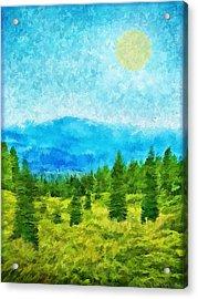 Pine Tree Mountain Blue - Shasta California Acrylic Print